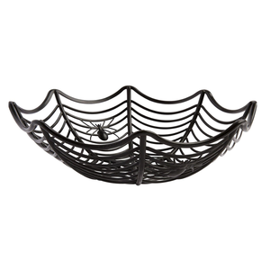 Skeleton with Hand Custom Plastic Halloween Basket Spider Web Candy Bowl