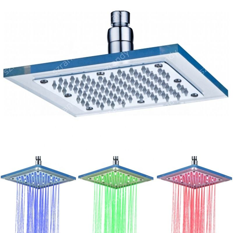 Temperature detectable light 8 inch glass led rustproof shower head(Blue-Pink-Red)