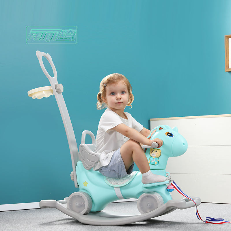 High quality baby rotating glow musical toddler walker plastic kids unicorn cartoon rocking horse ride on animals toy
