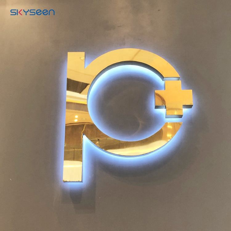 Stainless steel illumination Halo backlit led channel letter sign for shop