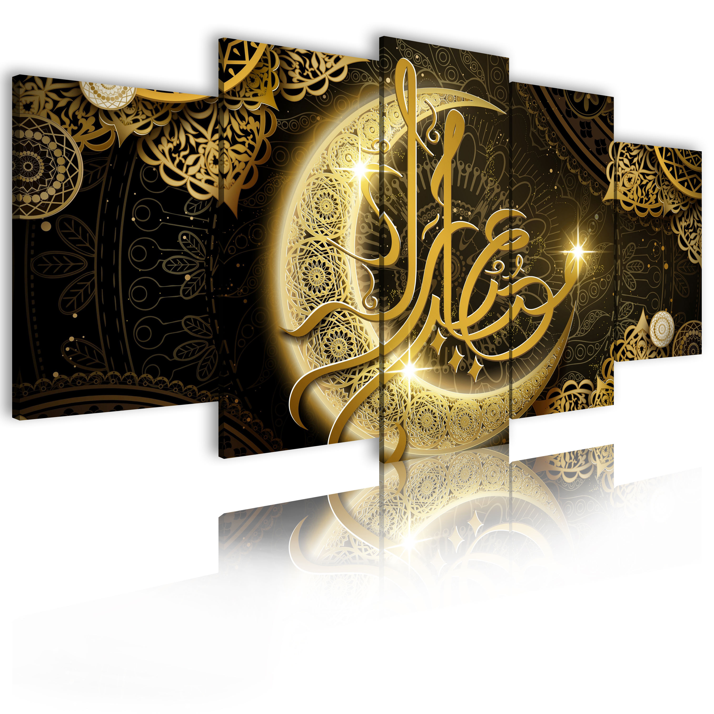 Canvas HD Print Poster Living Room Decoration Painting 5 Pieces Islam Allah Quran Golden Moon Painting Wall Art Muslim