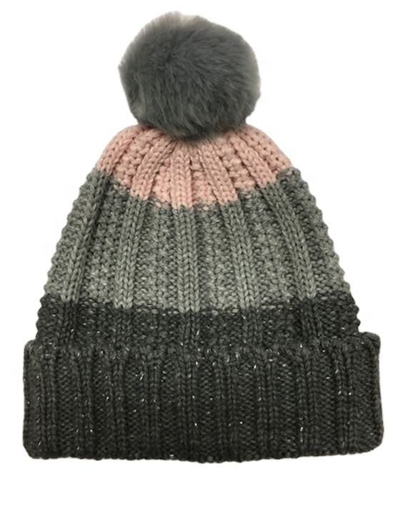 2020 New Style Winter And Autumn Fashion Knitted Lurex Stripes Color Cap Hat