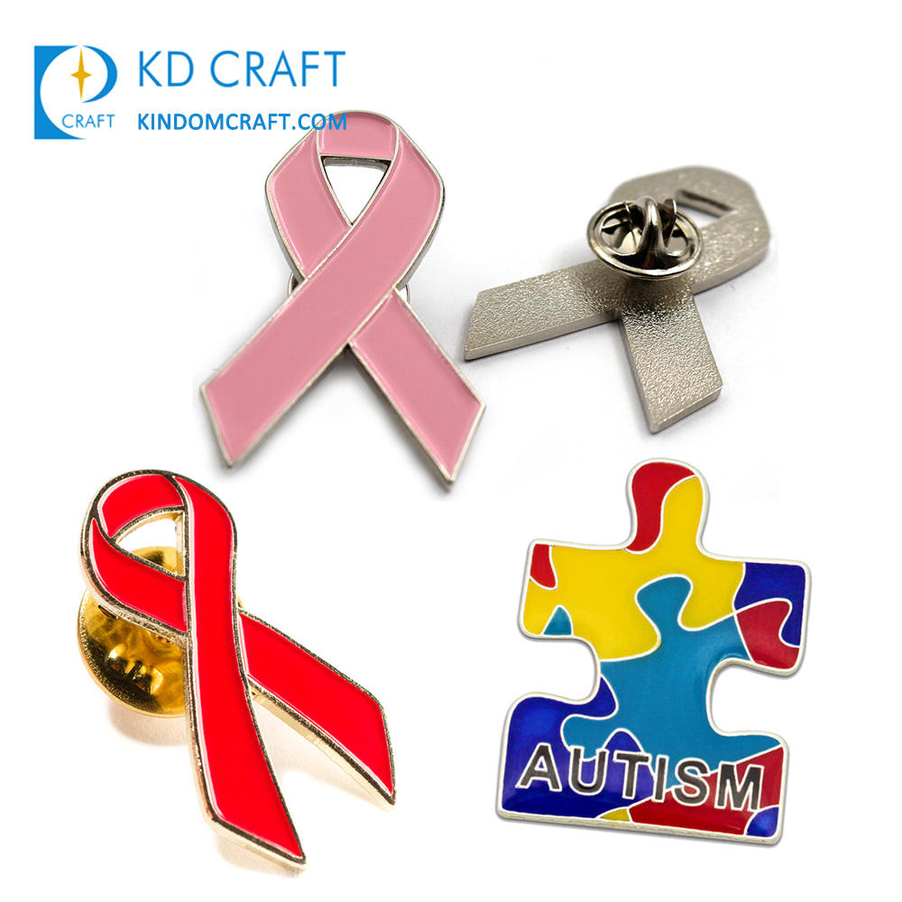 No mínimo a granel barato personalizado de metal em forma de carimbo esmalte breast cancer aids autism awareness ribbon pin do lapel para venda