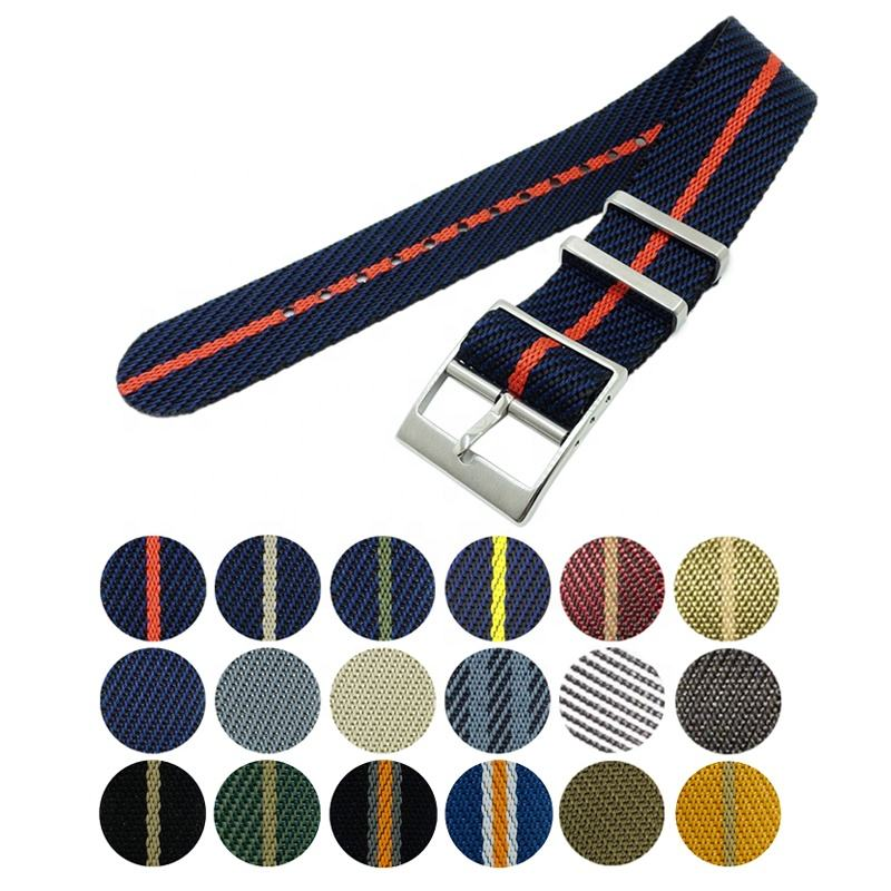 Single pass New Woven Nylon Nato Watch Band 20mm 22mm Adjustable Seatbelt Nylon Watch Strap