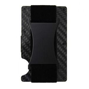 New Design Ultra Thin Metal Wallet For Man/RFID Blocking Credit Card Holder/Slim Carbon Fibre Card Case With Cash Strap