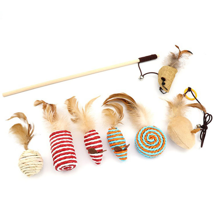 Pet Cat Teaser Toy Feather Linen Wand Cat Catcher Stick Interactive Toys Cat Wood Rod Mouse Fish Chick Shape