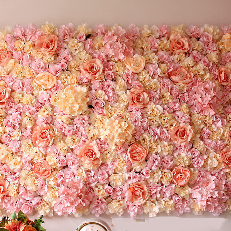 Silk Flowers Wall Wedding Decor Backdrop Wholesale Artificial Flower Panel Decoration Walls Rose