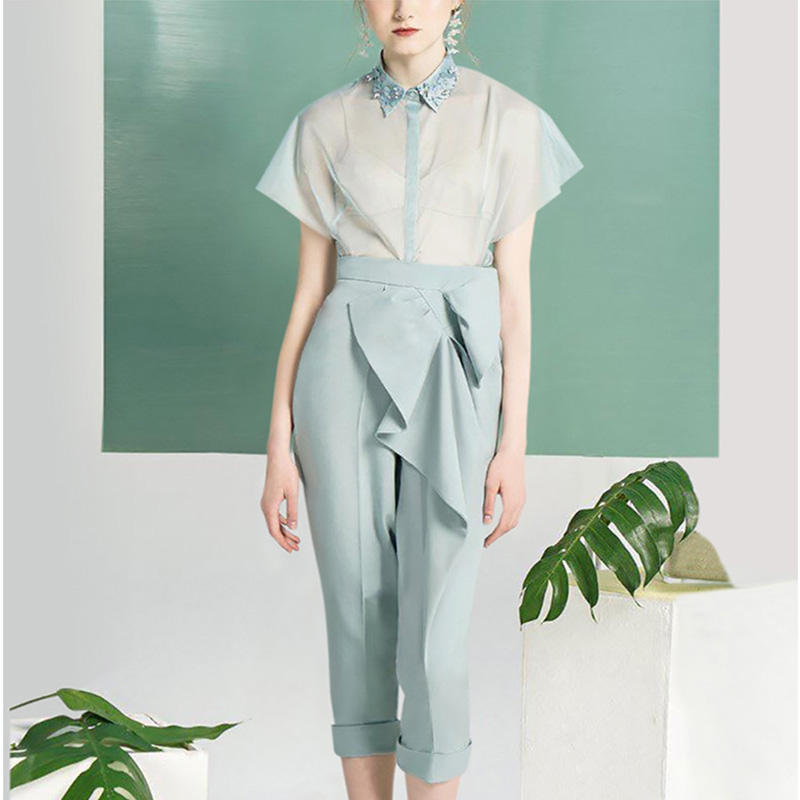 Spring 2021 New Fashion Blue Sweet Tulle Lapel Shirt Slim Temperament Lady Suit Pants