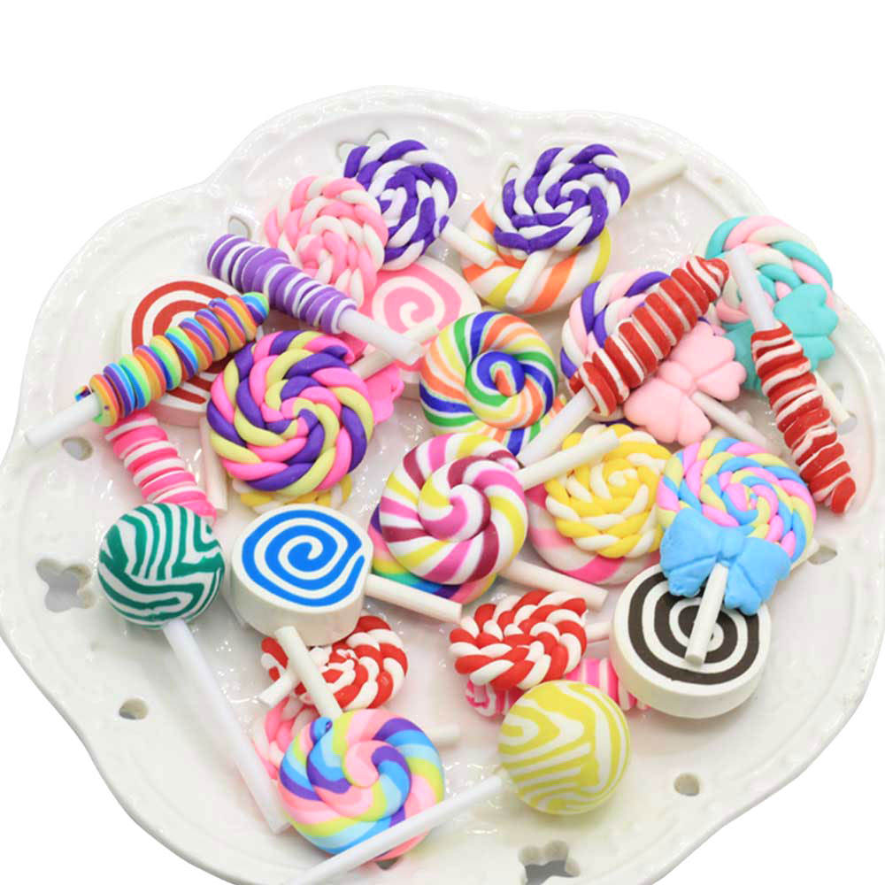 Assorted of Candy Charms Screw Color Polymer Clay Marshmallow Simulation Lollipop Big Size Candy Miniatures for Drop Earring Mak