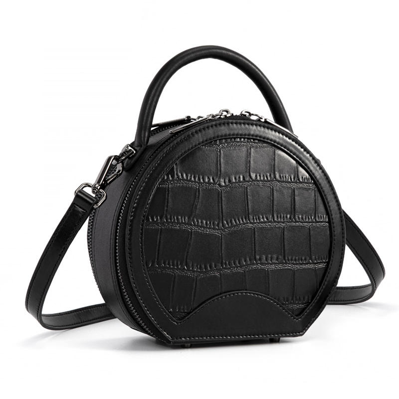 High quality brand fashion luxury handbags for women black crocodile texture custom designer genuine leather round hand bag