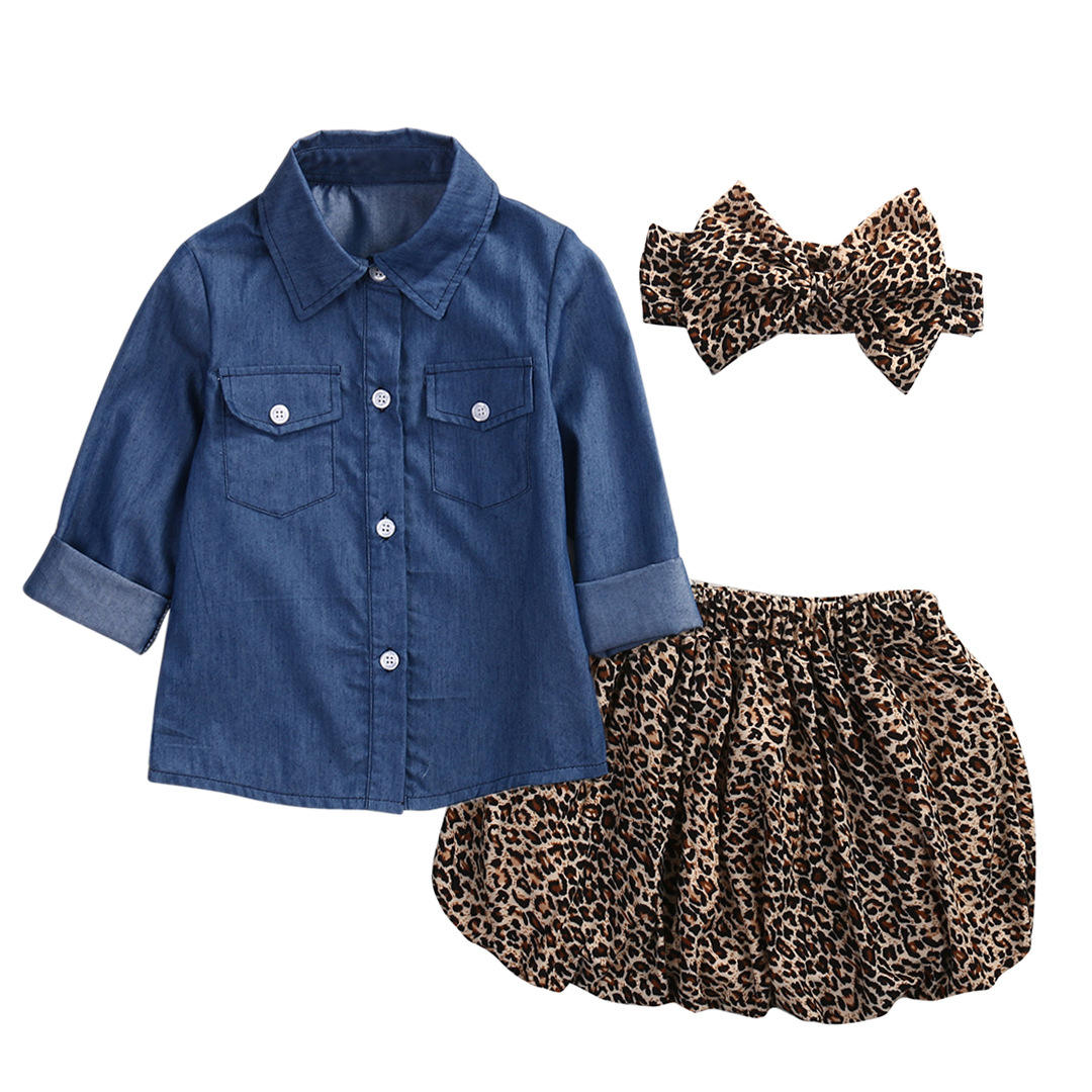 baby girl clothes set Toddler Baby Girl Denim Shirt Vintage Feminist Polka Dot Leopard Skirt Headband Outfit Fall Winter Clothes