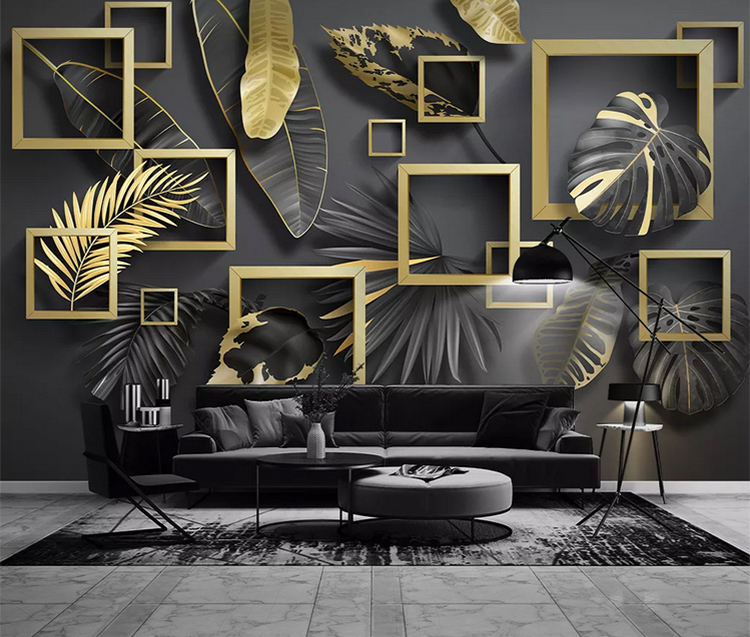 Nordic modern golden leaves sticker wallpaper tropical plants 3d geometric luxury self-adhesive wallpaper