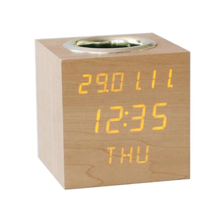 3 row display Wooden digital desk clock with pen holder
