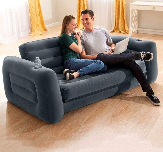 Custom made adult inflatable mattress sofa double PVC inflatable multi-function air sofa bed