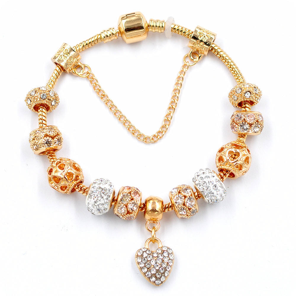 New Fashion Hot Sale Jewelry Gold Plated Cubic Zircon Ball Charm Bracelet Fit Brand Heart Charm Bracelet Bangle DIY Accessories
