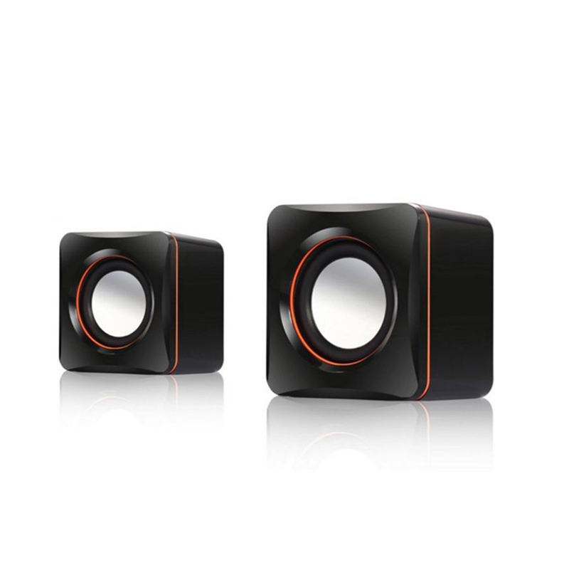 D-02A Portable USB mini Wired 2PCS desktop / laptop small speaker outdoor small audio gift speaker 2.0 mobile phone box
