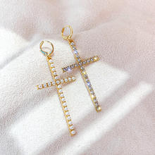 Barlaycs 2020 Trendy Hypoallergenic Vintage Crystal Pearl Stone Cross Dangle Earrings for Women