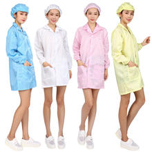 antistatic cleanroom workwear clothes esd smock gown uniform polyester fabric garment