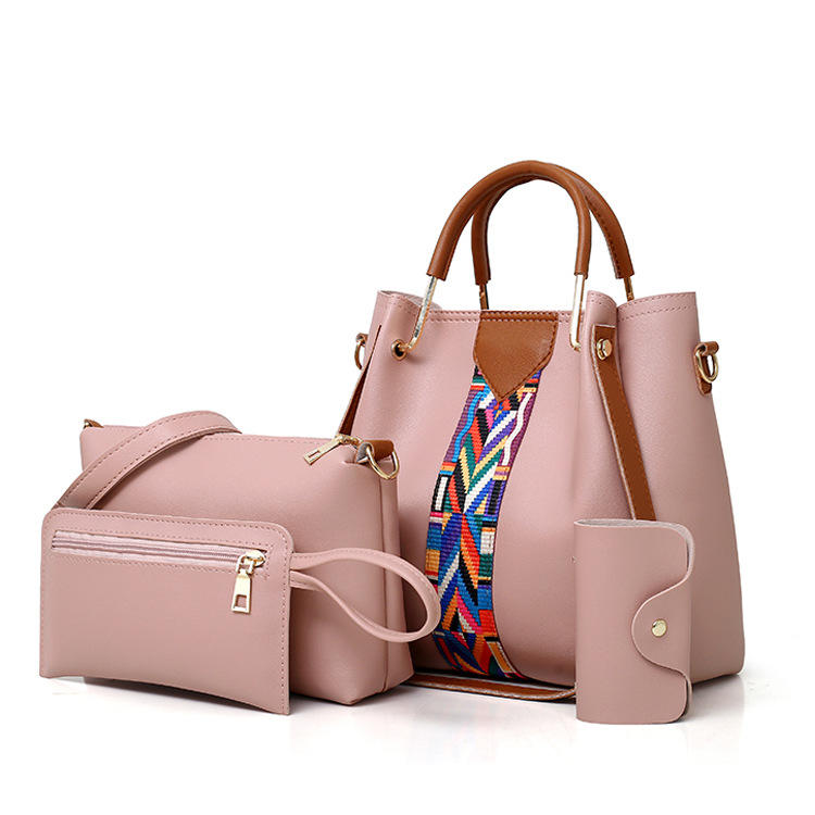 4Pcs Bohemia Hobo Design Elegant Women Handbag Set Tote Shoulder Top Tote Handle Satchel Purse Wallet Set Ladies Hand Bags