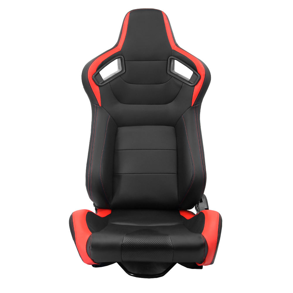1 Piece Left Side Car Seats Bucket Racing Seat Universal Black and Red Color PVC Leather