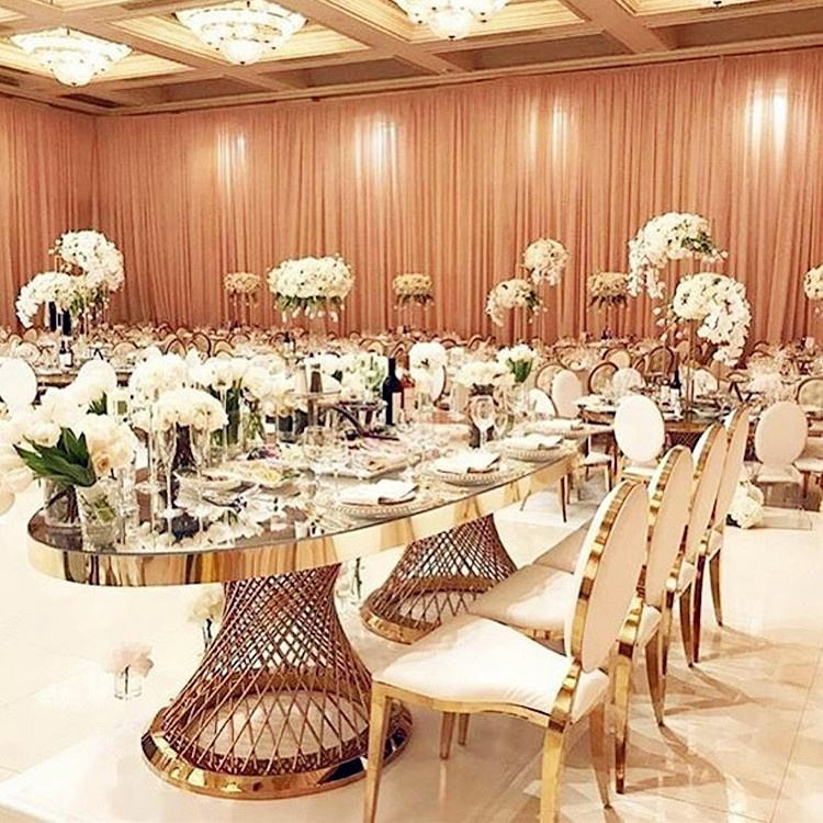 modern gold stainless steel tempered glass wedding mirror glass dining table