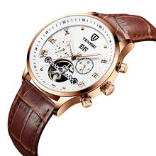 roman tevise tourbillon automatic watches brand leather strap business mens wrist watch logo customize
