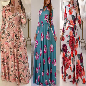 Stylish woman clothing ladies floral print long maxi dress