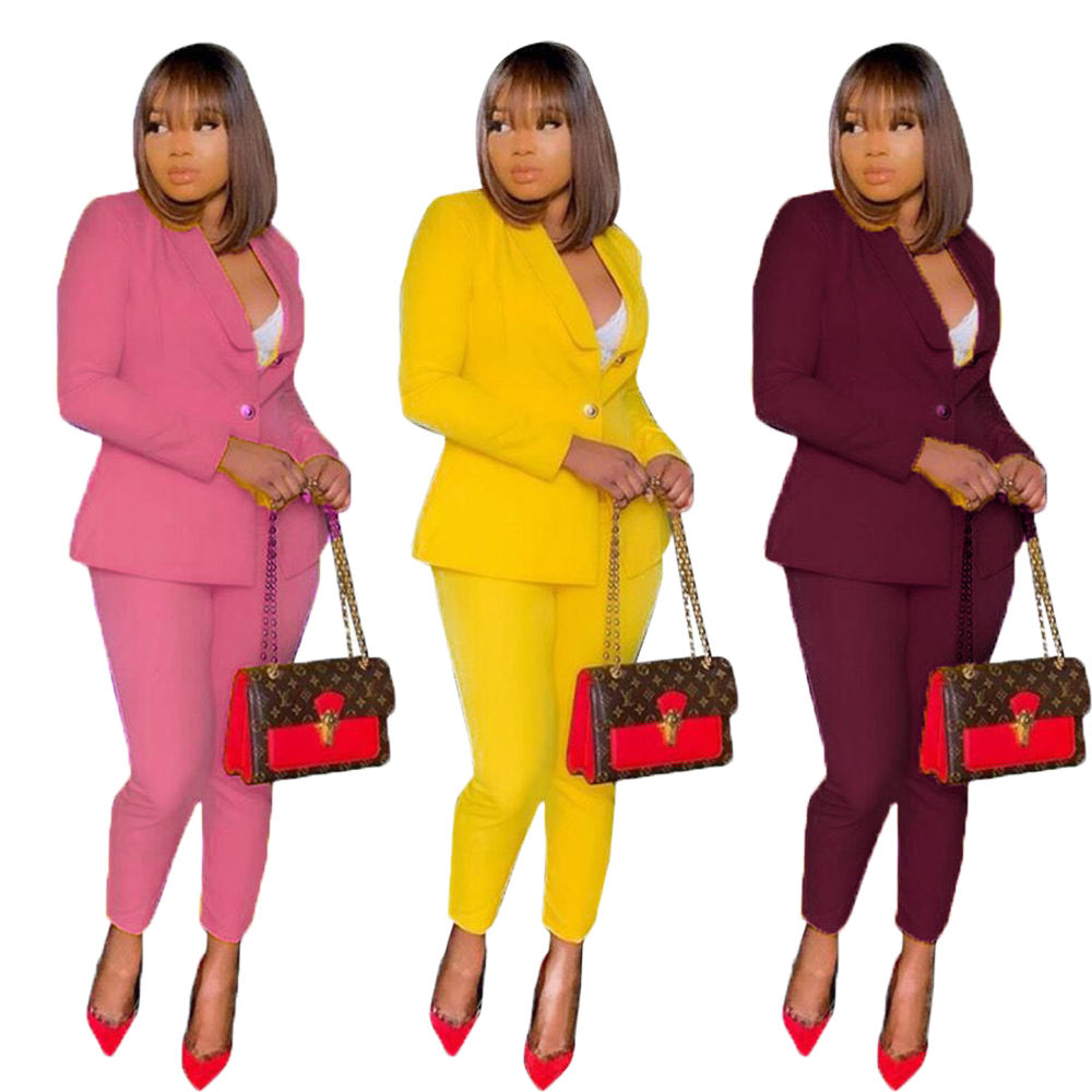 Suit jacket and pants sets lady woman two pieces professional women's business attire suits