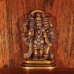 Office Temple Divya Mantra Hindu God Sri Panchmukhi Five Faced Prayer Hanuman Brass Door Wall Hanging Showpiece- Puja Room Good Luck Meditation Home Decor Gift Collection Item//Product -Money