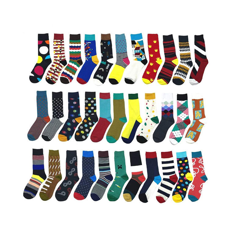 fashion happiness socks custom made funny colorful cotton bamboo fancyed cool business bright colored mens dress socks for men