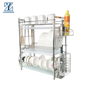 3 Tier Stainless Steel Metal Kitchen Storage Racks Basket Organizer Dish Drainer Rack Dish Drying Rack with tray