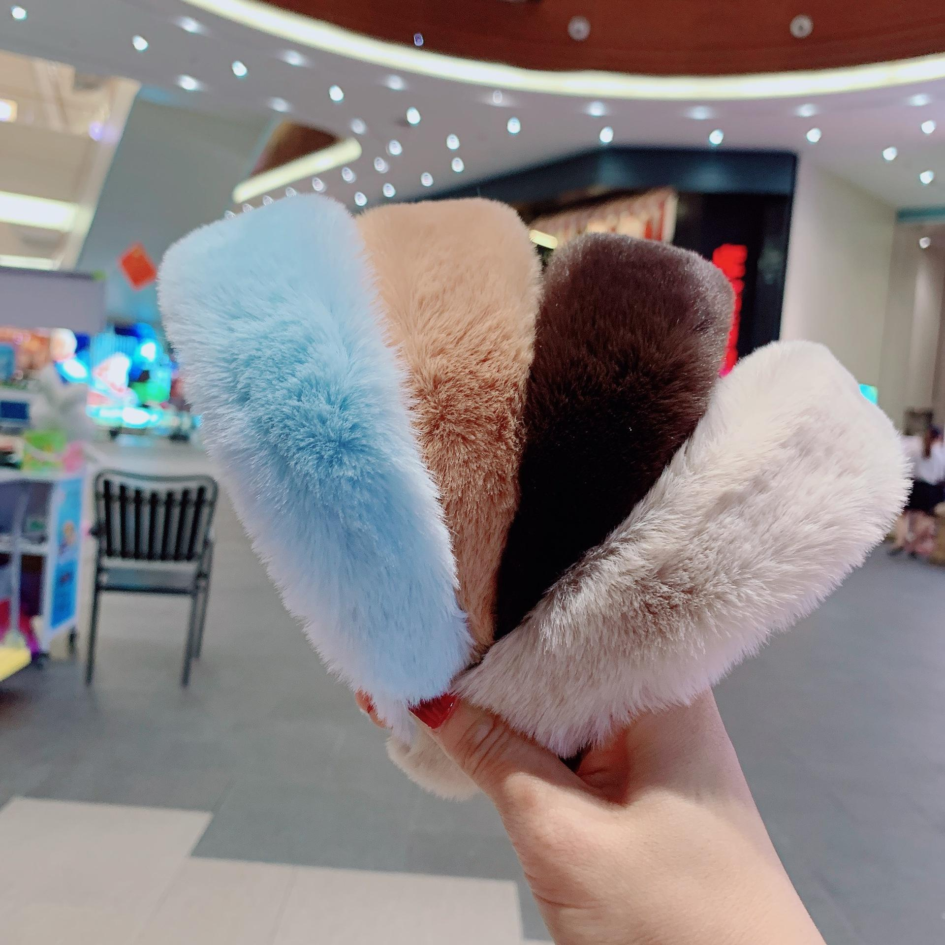 Factory Wholesale winter hair accessories autumn fur faux headband sets Artificial rabbit fur furry headband women