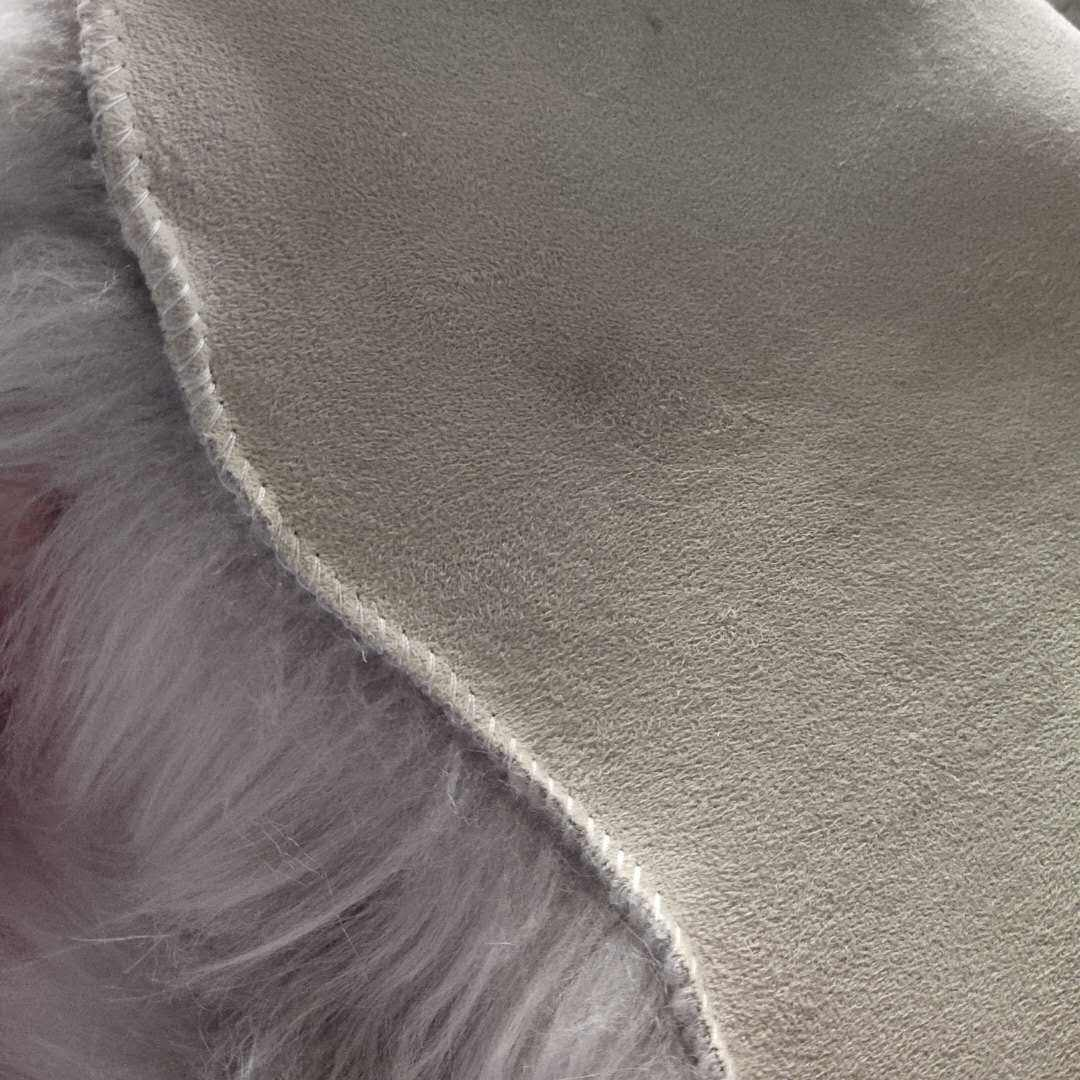 suede bond long plush fur trimed fabric