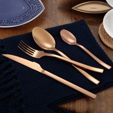 Wholesale copper flatware sets stainless steel rose gold spoon knife fork cutlery set