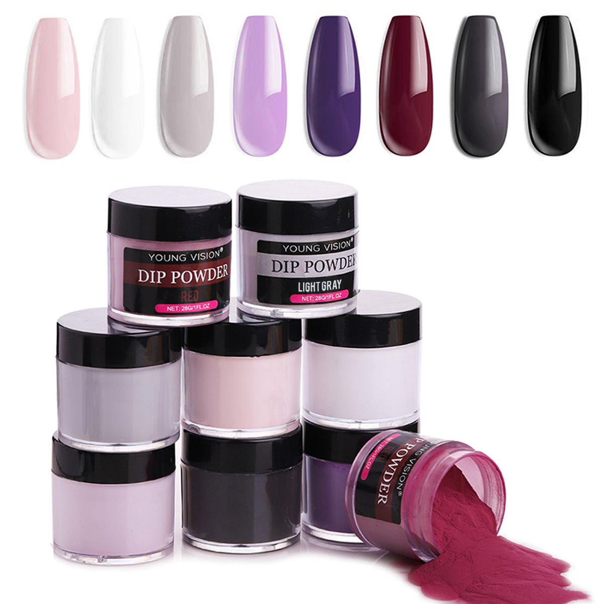 High quality light free curing quick nail polish powder, acrylic nail polish powder suitable for nail salons