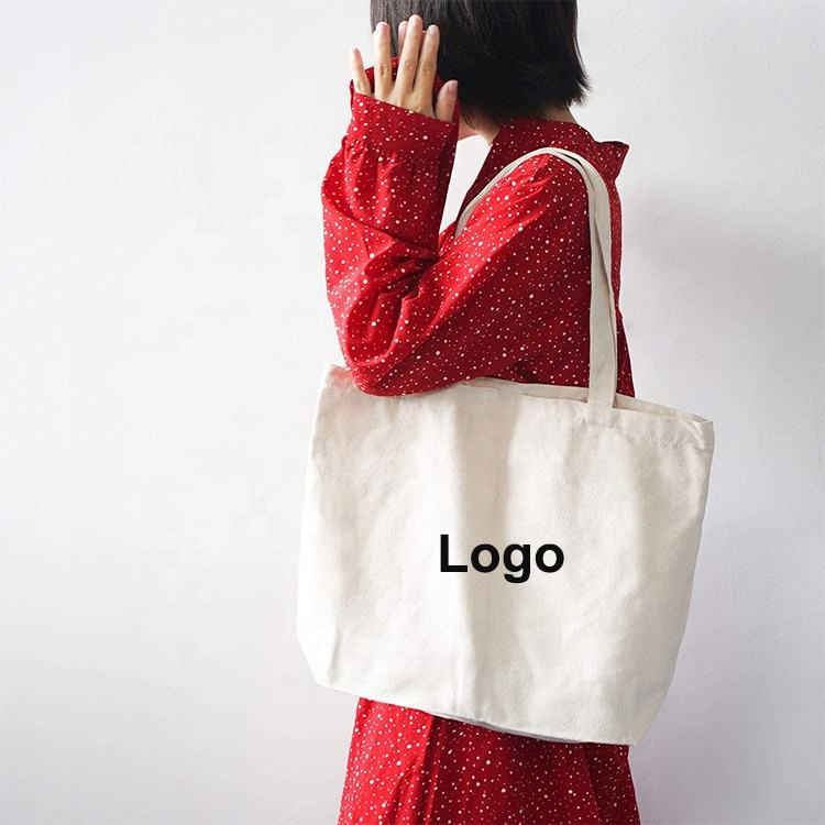 Custom Printed Recycle Plain Organic Cotton Canvas Tote Bag Bulk Large Reusable Shopping Bag With Logo