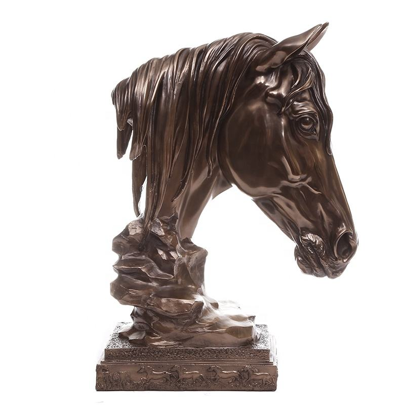 Copper clad sculpture Hand Carving 32*27*43cm Inches Horse Head design Home Decor Statue