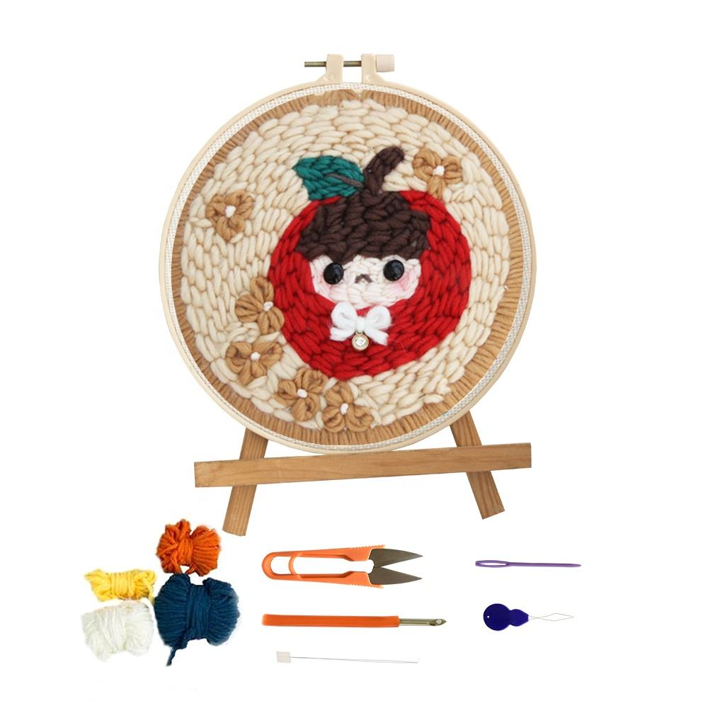 Round Frame Needlework Cross Stitch Hoop Handmade Embroidery Rug Hooking kit for Beginner