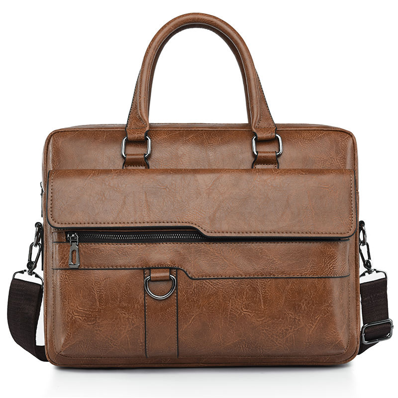 Men briefcase bag high quality leather shoulder messenger bags office handbag 13.3 inch laptop