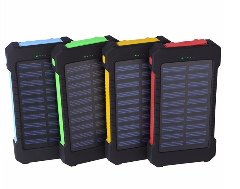 REAL 10000mAh Portable Solar PowerBank,Solar Charger with Dual USB Charging Ports LED Light Carabiner Compasses