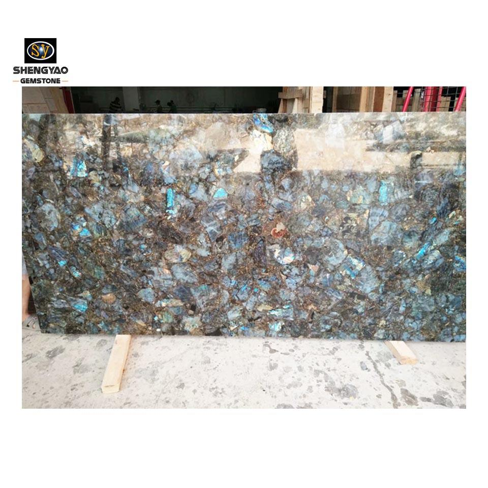 Labradorite composite slab shining beautiful blue onyx /house furniture modern