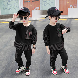 DRZYF2008B01 Spring Autumn Kids Clothing Sets Fashion Design Casual Black Boy Sweatshirt and Pants Clothes Children