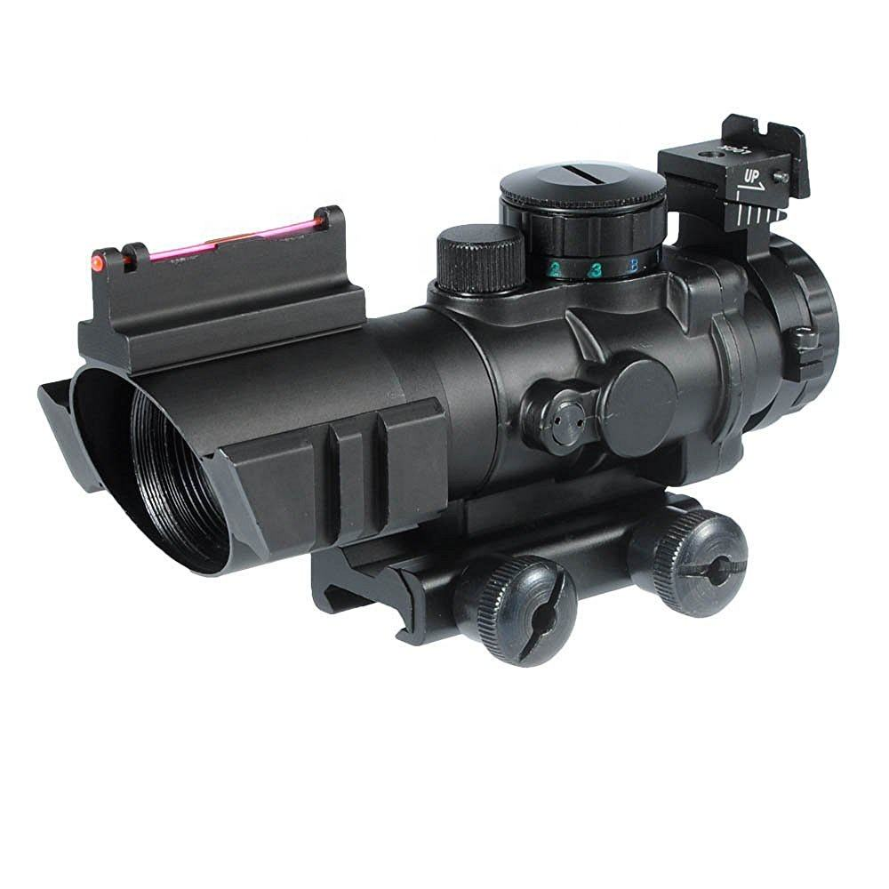 Tactical guns and weapons army Red Green Blue 4x32mm Illuminated Top Fiber Optic dot Sight rifle scope for hunting