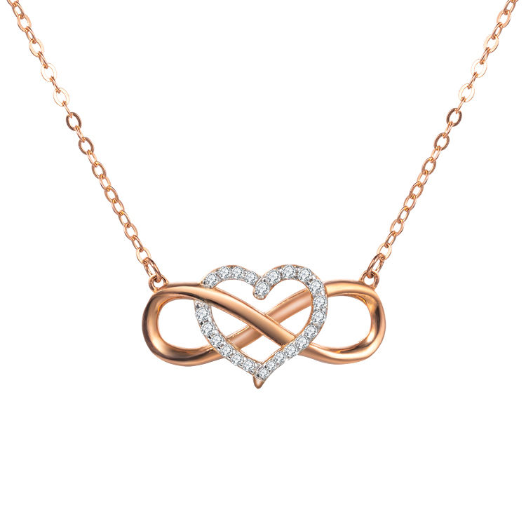 Fashion Jewelry Romantic Heart Shaped Copper Gold Plated Cubic Zirconia Necklace für Women
