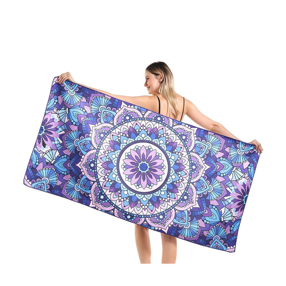 Personalized custom design your own fast drying digital print mandala recycled beach towels wholesale bulk