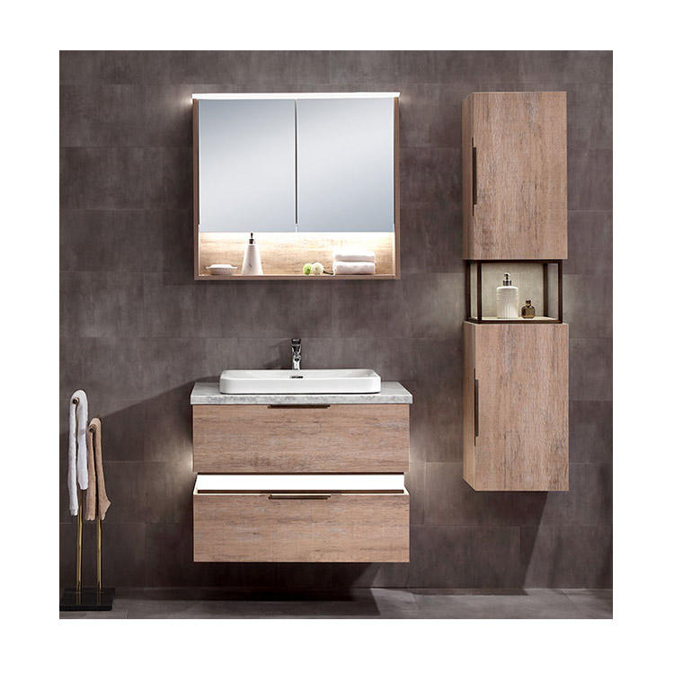 Wholesale Luxury OEM Design European Style 30 Inch Hotel Furniture MDF LED Wall Hung Modern Bathroom Vanity Cabinet Set