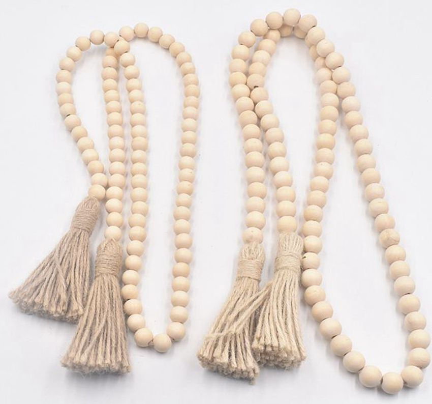 K1 DIY Handmade Wood Bead Oornament Accessories Tassel Twine Rustic Farmhouse Beads Prayer Beads Wall Hanging Decoration