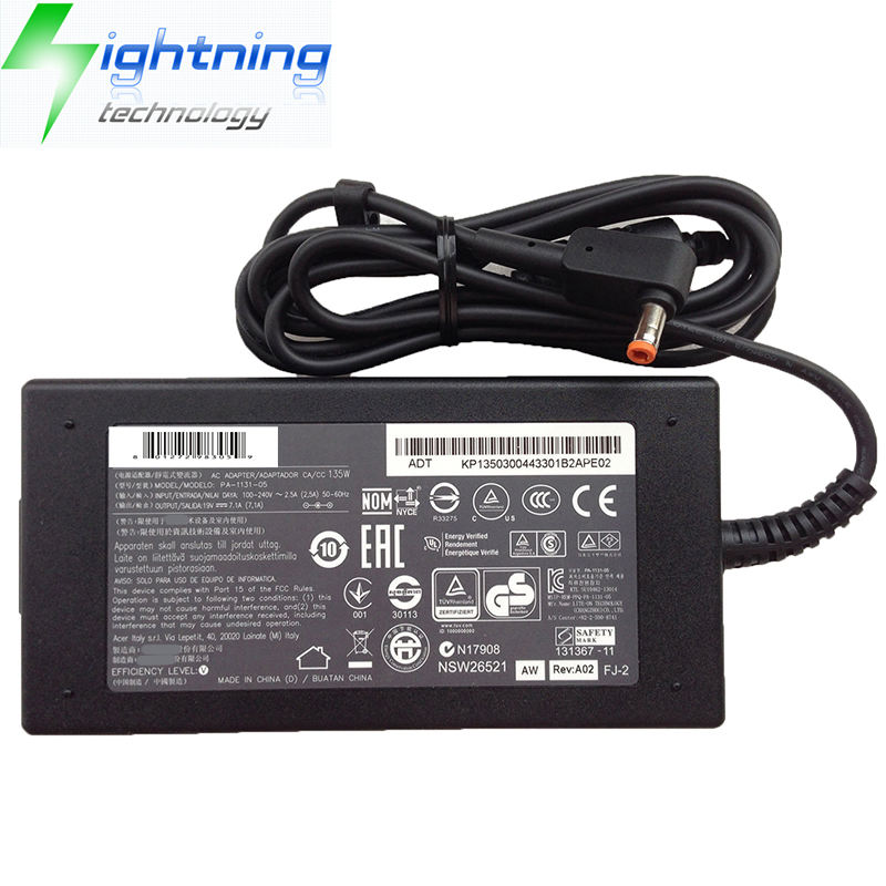 NEW Original 135 w 19 v 7.1A 5.5*2.5mm Carregador Para Liteon Adaptador Portátil Aspire VN7-591G-70TG Notebook AC adaptador