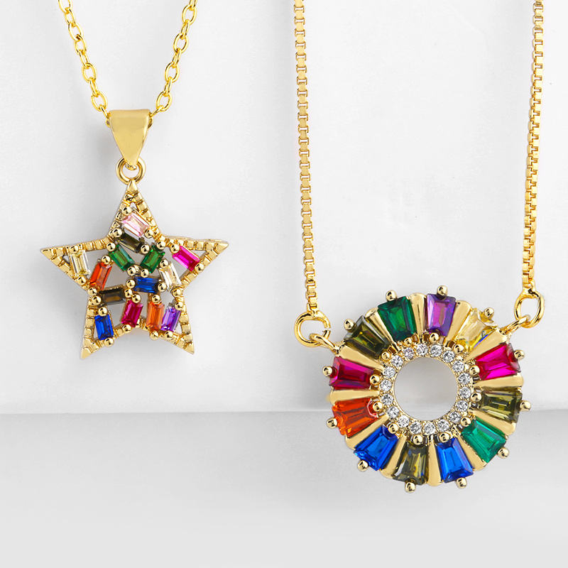 Eyika mexico style rainbow color star circle pendant colorful cz universe necklace women jewelry
