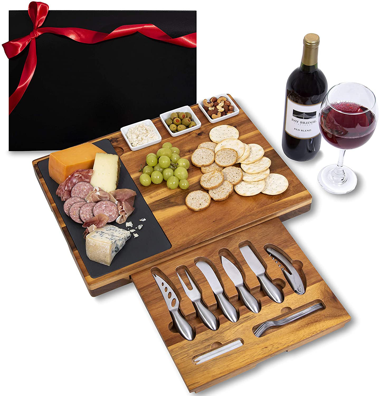 19-Piece Cheese Board and Knife Set Wedding & Holiday Gift Platter or House Warming Present Acacia Wood & Slate Serving Tray